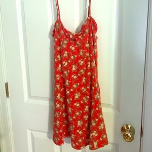 Red cut-out floral dress